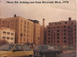 apartment buildings on Shore Rd looking east from Riverside, 1978