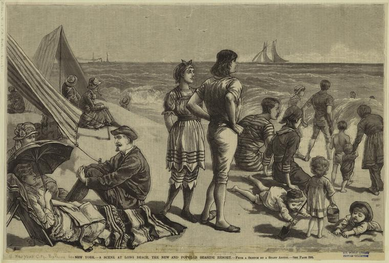 postcard: drawing of people on beach