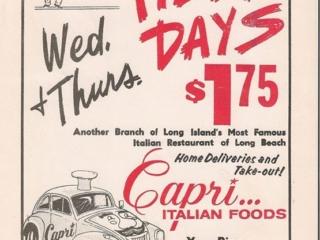 ad: Capri's Italian Foods, pizza days
