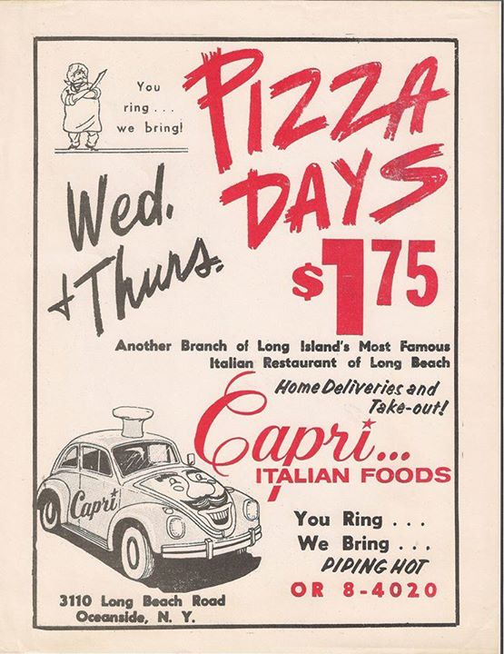 ad: Capri's Italian Foods, pizza days
