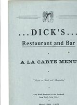 menu: Dick's Restaurant and Bar