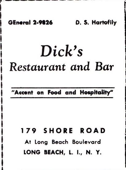 ad: Dick's Restaurant and Bar