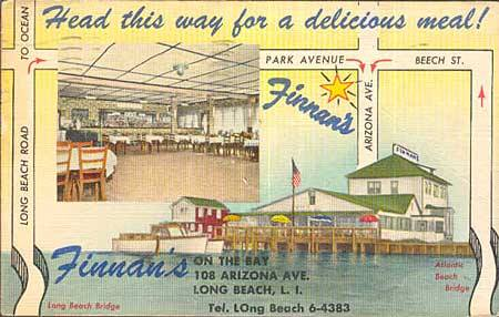 postcard: Finian's on the Bay map and ad