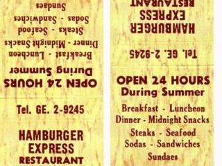 matchbook cover: Hamburger Express luncheonette