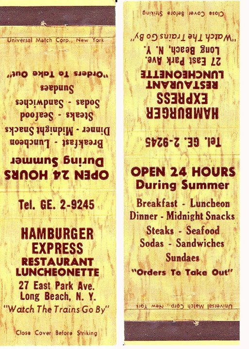 matchbook cover: Hamburger Express luncheonette