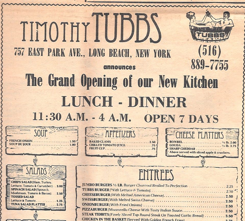 clipping: ad for Timothy Tubbs restaurant