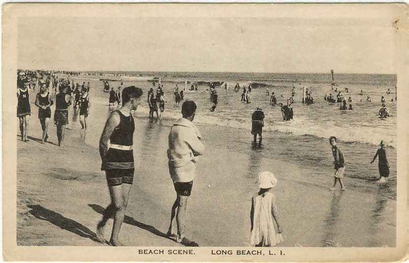 postcard: beach scene, 1919