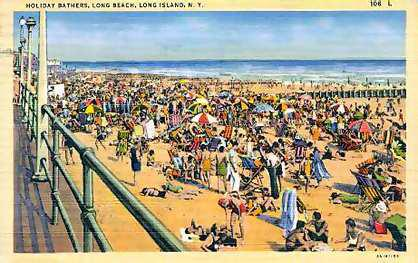 postcard: holiday bathers in Long Beach