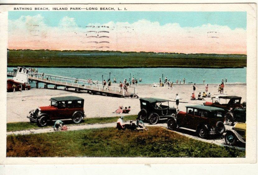 postcard: Bathing Beach, Island Park