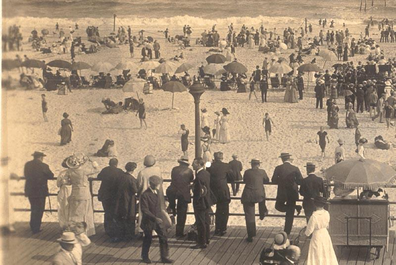 crowded beach from boardwalk