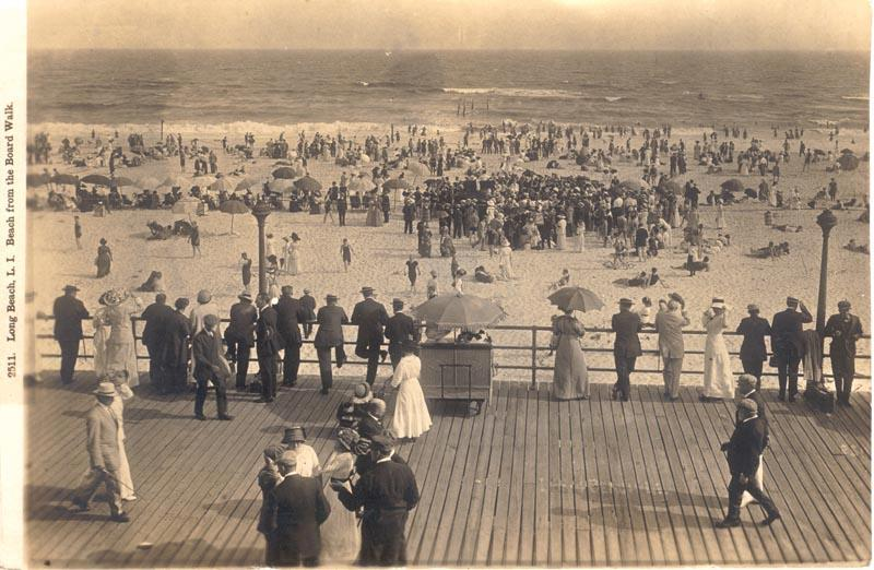 aerial view, crowded beach from boardwalk