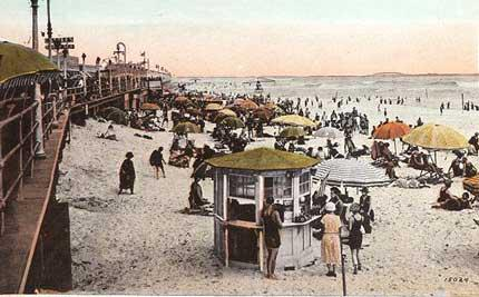 beach scene with boardwalk