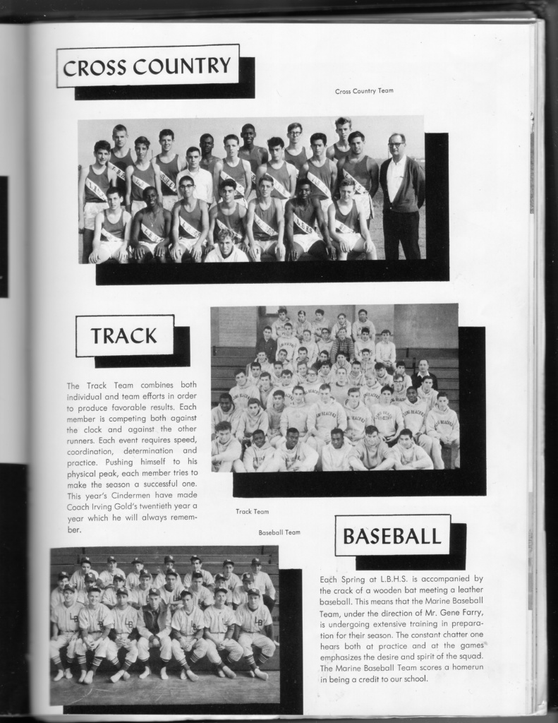 yearbook page: cross country, track, and baseball teams