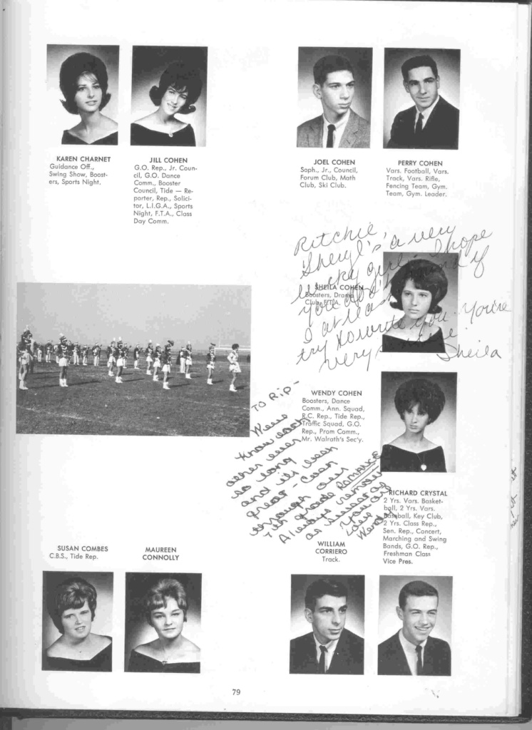 yearbook page: Charnet to R. Crystal, with signatures