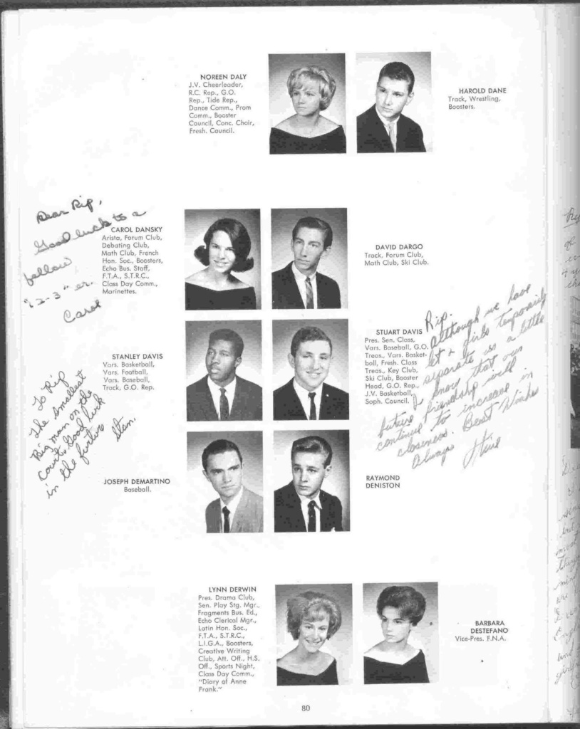 yearbook page: Daly to Destafano, with signatures