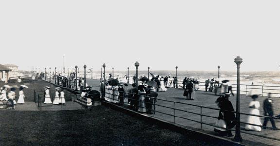 side view of boardwalk, 1920s