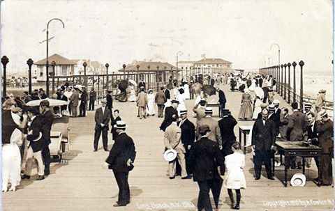 crowded boardwalk, 1920s