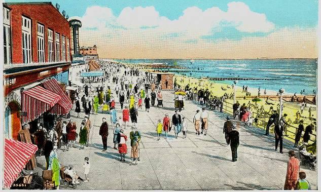 color postcard: crowded boardwalk, 1927