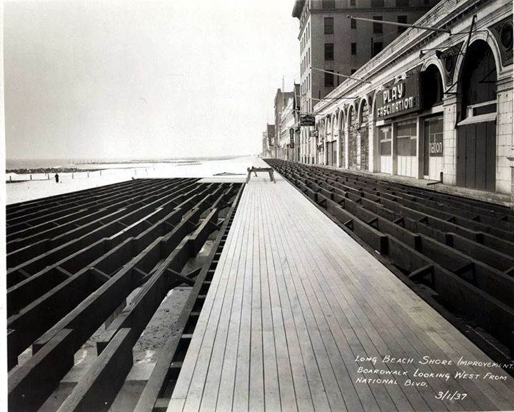 boardwalk being rebuilt, 1937