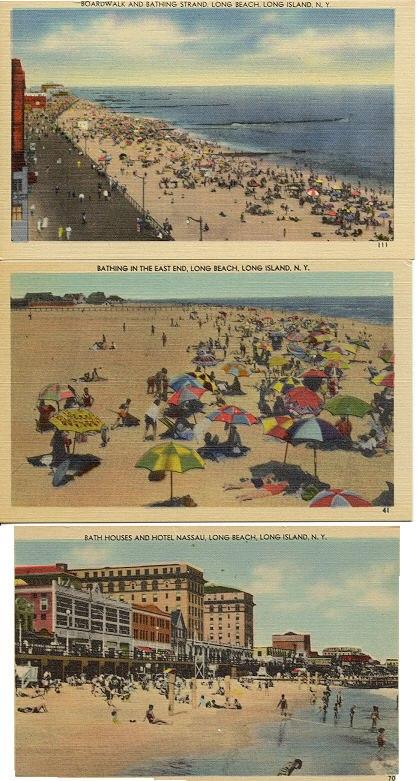 3 postcards: beach views