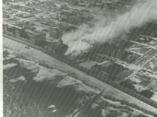 aerial view of Castles Theatre on fire, 1936