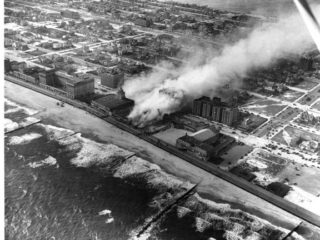 aerial view of Castles Theatre on fire