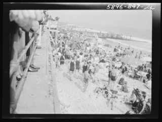 crowded beach near Castles by the Sea, 1927