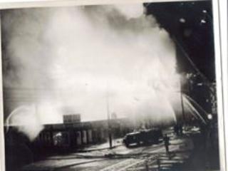 Deauvill Baths on fire, 1957
