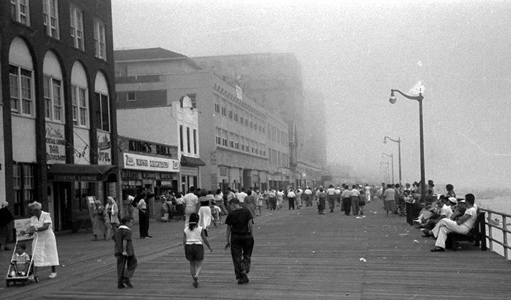 boardwalk by National Pavillion in mist