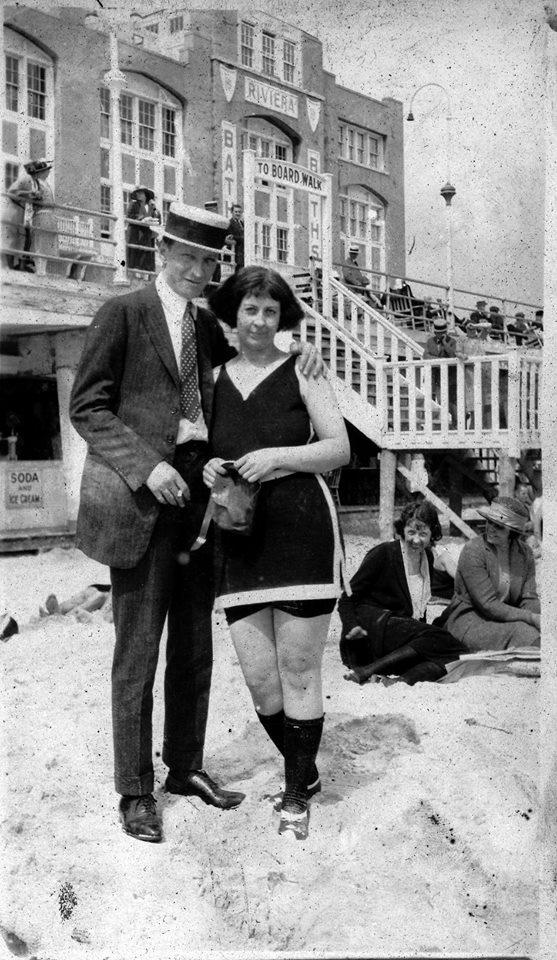 couple outside Riviera Baths, 1919