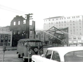 fire department battling blaze at Horton's, 1960s