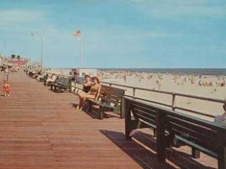 boardwalk and beach looking east, 1980s