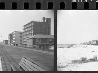 2 views of boardwalk and beach looking west, 1960s