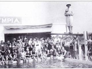 bathers at Olympia Pool, 1930s
