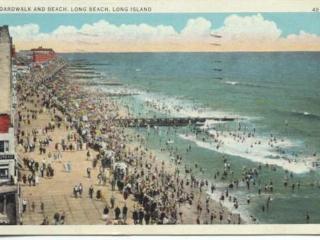 postcard: aerial view of boardwalk, beach, and ocean