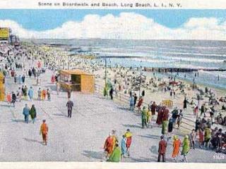 colorized postcard: cement boardwalk