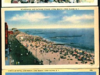 3 color postcards: Lido Club and beach