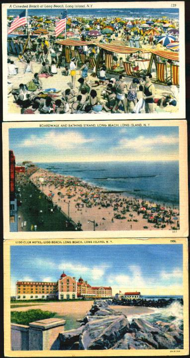 3 color postcards: Lido Club and beach