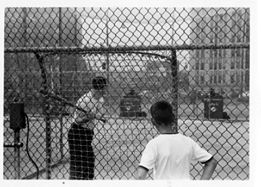 batting cage on boardwalk