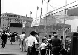 exterior of boardwalk batting cage