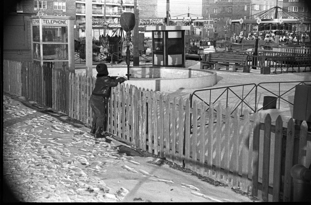 amusement park in snow, 1960