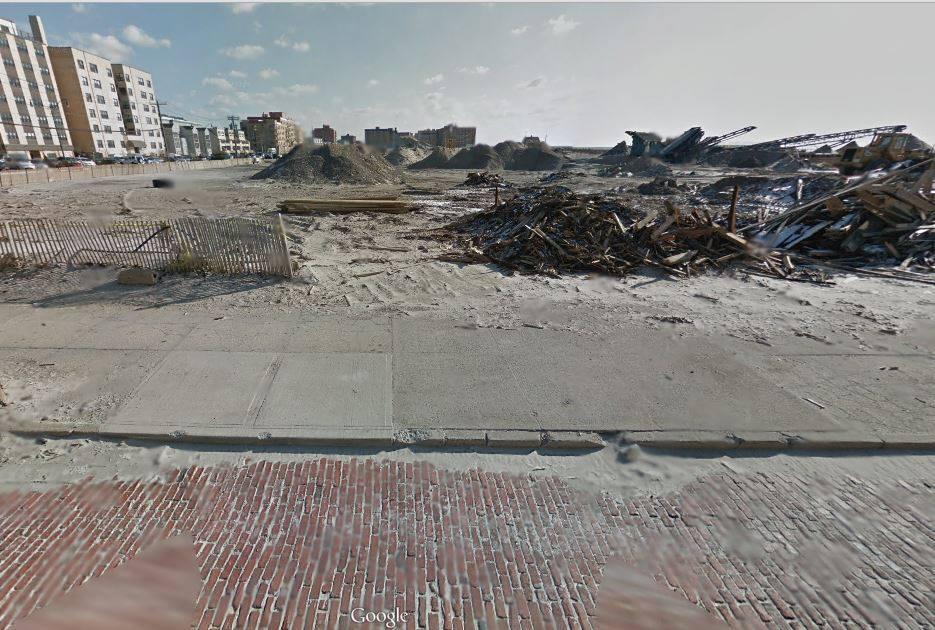 debris from destroyed Playland along shore
