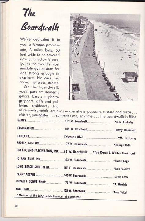1970 Long Beach Guide page showing boardwalk amusements